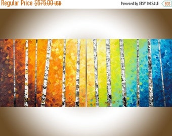 "Art painting 60""extra large wall art Colorful birch rainbow Color painting on canvas yellow orange blue green white black by qiqi"