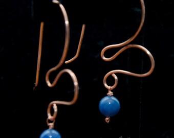 Abstract Copper Heart Earrings - Blue