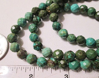 Turquoise Beads, 8mm Faceted Round Green Chinese Turquoise, 1mm Hole, 15 Inch Strand, QTY 1 - tq468