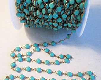 SALE, Metal Enamel Chain, Turquoise Gold, 6mm Dot, Decorative Chain, Closed Link, Chain by the Foot, ch126