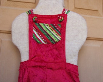 Red velour elf rompers with striped pocket, Children's Christmas Elf romper shorts