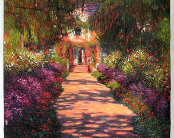 Pathway in Monet's Garden at Giverny -Claude Monet hand-painted oil painting reproduction,Home Garden Flower Landscape,living room art decor