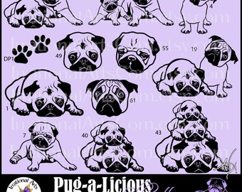 Pug-a-Licious Pug Dog Silhouettes - Vinyl Image Ready Graphics Set - 9 eps, svg, png, scl - 12 dogs, faces, & paw prints {Instant Download}