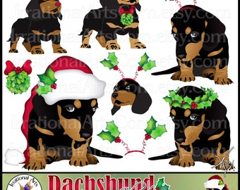 Dachshund set 2 - 8 Christmas digital clipart graphics of Dachshunds with red bows, santa hat, holly {Instant Download}