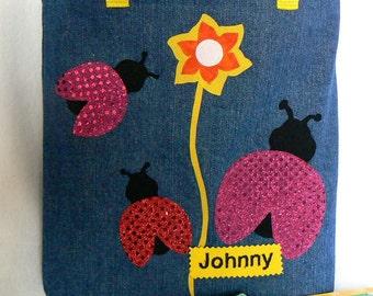 Girl Ladybug Tote Bag|Red Pink Sparkle Ladybug Book Bag|Kids tote bag|Children's Library book bag|Easter Gift Bag|Toddler Gift|Preschool Bag