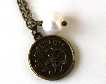 Clearance Sale Sagittarius astrology zodiac star sign charm and white pearl antique bronze necklace