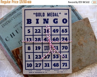 HOLIDAY SALE - Gorgeous Gold Medal Vintage Bingo Cards, Large Size, Grey and Blue (8)