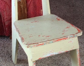 VINTAGE CHILD CHAIR, cutest home made shabby chic mini chair, chippy paint