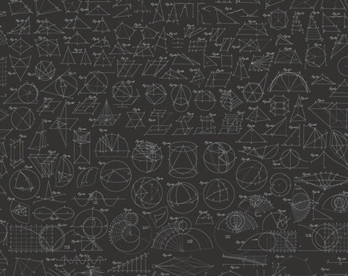 ENCYCLOPEDIA GALACTICA GEOMETRY Black Mathematical Illustration Quilt Fabric - by the Yard, Half Yard, or Fat Quarter Fq by Suite 1500
