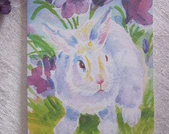 Bunny And Purple Flowers Notecards from Original Watercolor Painting