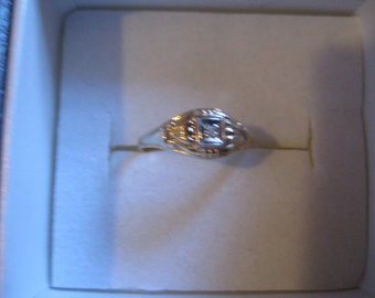 Art Deco PSCo 10KT Yellow Gold  and Diamond Ring with in a Size 3 and One Half