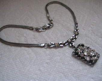 Barclay Art Deco Choker in Silver Tone Metal with Crystal Rhinestones in Many Shapes