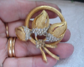 60s BSK Gold Flower Brooch with Rhinestone  Accent