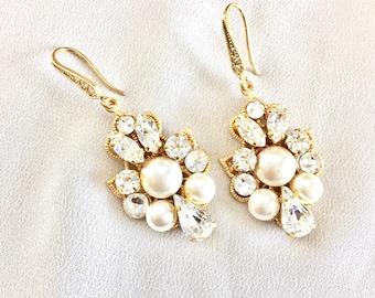 Gold pearl bridal earrings, Gold earrings, Swarovski Wedding Earrings, Rhinestone Wedding Earrings, Swarovski Bridal Jewelry SYRAH