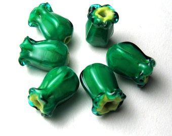 Lampwork Beads, Green with Blue Japonica, handmade lamp glass jewelry supplies