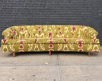 Incredible Curved Tufted Chartreuse & Magenta Sofa Couch