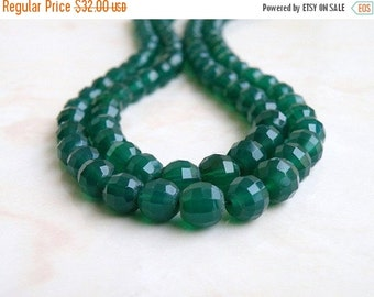 Final 51% off Sale Green Onyx Gemstone Round Step Cut Faceted 5mm to 7mm Full Strand 50 beads