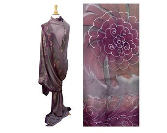 Abstract Floral Sari Saree Fabric 5.5 yards Purple Gray Pink White Scribble Paint