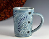 Medium Tea Cup Mug Paisley Pattern, tea cup, tea mug, Buttons READY TO SHIP