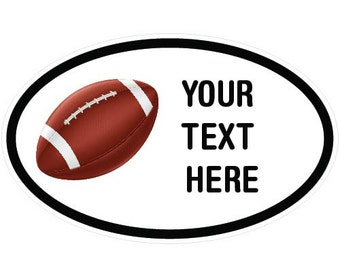 "Personalized Peel n' Stick Sports Oval Vinyl Decal (6"" Football)"