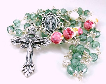 Miraculous Medal Rosary Beads Roses Peonies Sage Green Dark Pink Bohemian Glass Porcelain Wire Wrapped Unbreakable Traditional 5 Decade