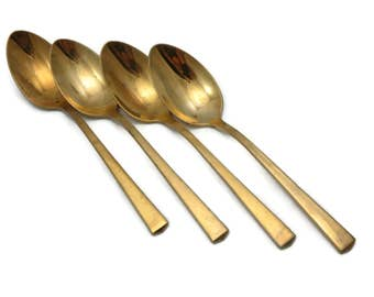 Mid Century Gold Flatware Teaspoons Set of Four - Dirilyte, Dirigold, Minimalist Empress Pattern