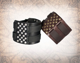 Two Row Riveted Black Leather Cuff, Leather Wristband, Leather Bracelet, Black Leather Cuff, Leather Band - Custom to You (1 cuff only)