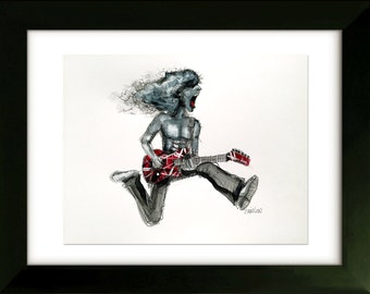 Available Now - Ready to Ship - Original Drawing with Frame - Eddie Van Halen - Art by SLAZO - 16x20