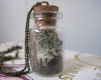 White Flower Moss Pixie Terrarium Necklace