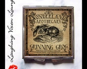 Cheshire Cat Pill Box - Alice In Wonderland Compact Mirror - Magic Potion Label - Pill Case - Grinning Grog