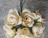 Fabric Millinery Flowers From Austria 6 Buttercream Roses Flowers #A56BC
