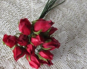 Fabric Millinery Flowers From Austria 12 Deep Red Rose Buds #A51DR