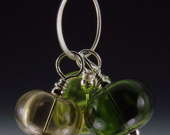 Trio of Hollow Beads, Forest bubble necklace, silver plated