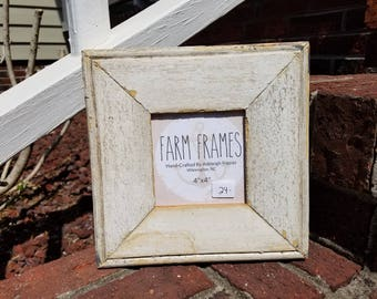 4 x 4 CREAM old vintage wood picture frame