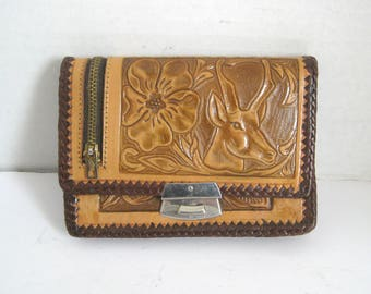 Vintage Hand Tooled Womens Leather Wallet With Mirror Made in Mexico