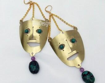 Mask Earrings, statement earrings, Mid Century inspired, turquoise earrings, amethyst earrings, modern jewelry, handcrafted brass