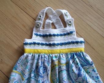 Flower Garden Dress with Crochet Bodice in Size 3-6 Months