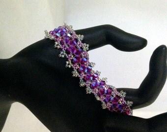 Open Lace Bracelet in Fuchsia