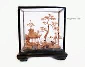Vintage Cork Art Sculpture / Wood Glass Shadow Box Case