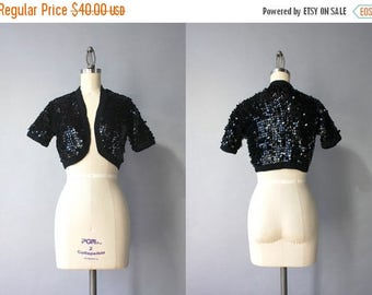 STOREWIDE SALE Vintage 60s Cardigan / 1960s Sequined Sweater / Black Sequined 1950s Bolero Crochet Cardigan