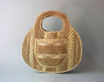1950s Beach Tote / Vintage 50s Large Straw Purse / 1940s Hawaiian Fabric Lined Oversize Tote
