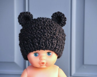 Newborn Black Bear Hat Knit Bear Hat Baby Hat Beanie Infant Photo Prop - Soft Newborn Photo Prop baby boy hat baby girl hat