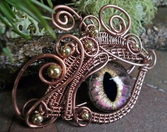 Gothic Steampunk Pink Purple Colorshift Eye in Antique Copper