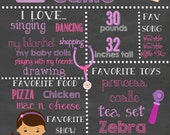 Doc Girl Inspired custom ( Any age ) Birthday Chalkboard sign printable file ( Choose size 8x10, 11x14 or a 16x20