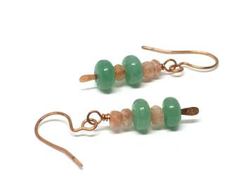 Heart Chakra Earrings, Aventurine, Green Aventurine, Sunstone, Sunstone Earrings, Drop Earrings, Good Vibes, Boho Earrings for Her, Gift