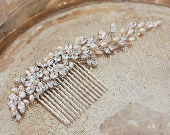 Silver Freshwater pearl and rhinestone Crystal Long Bridal Hair Comb, Headpiece,