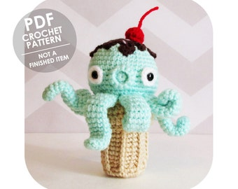 INSTANT DOWNLOAD - kawaii takochu octopus ice cream cone amigurumi plush - PDF crochet pattern