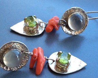 Sterling Silver Earrings with Moonstone, Coral and Peridot