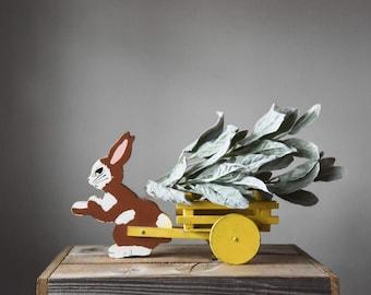 Vintage Rabbit Pulling Cart, Bunny and Cart, Easter Decoration, Bunny Decoration, Easter Toy, Folk Art Rabbit