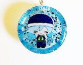 Juvia Lockser Water Lock Bubble Fairy Tail Circle Resin Pendant Necklace or Keychain